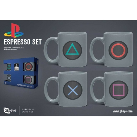 PlayStation Espresso Mugs 4-Pack Buttons Joystick, Video Games