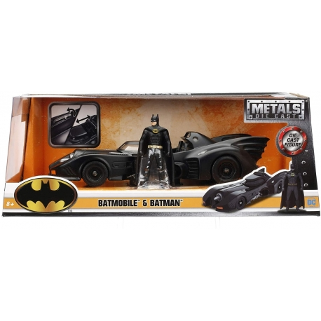 Batman The Movie 1989 Batmobile 1:24 With Action Figure Jada